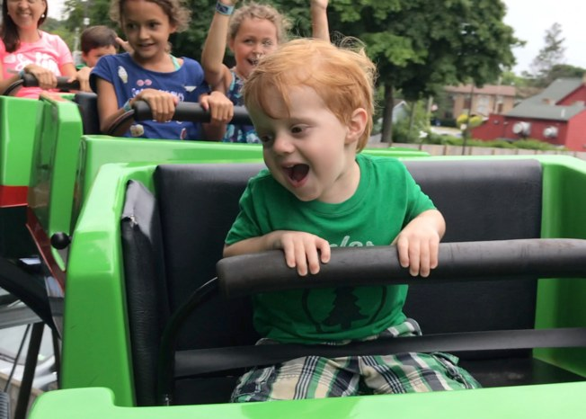 Kid in roller coaster